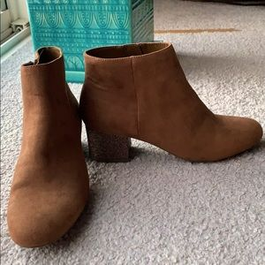 Brown glitter heel ankle boots